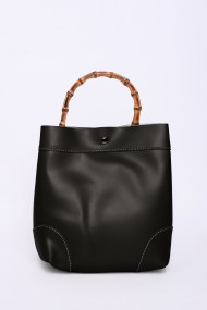 Black Cross Body Bag with Bamboo Handle by Glamorous