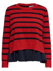New Latisha Blue Stripes Red Pullover Knitwear by Only