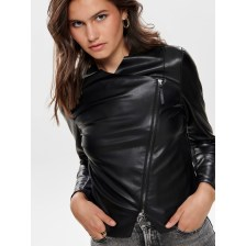 ONLY Alex faux feather drapy black jacket