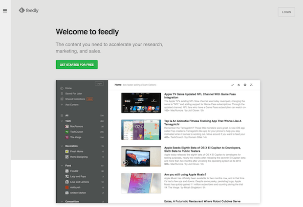 social marketing tools - feedly