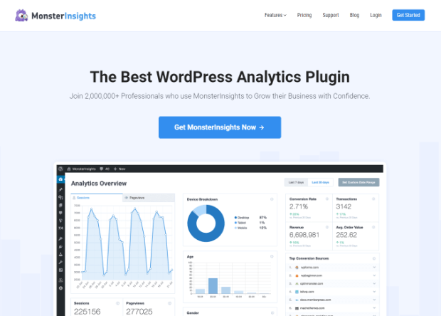 landing page di monsterinsights
