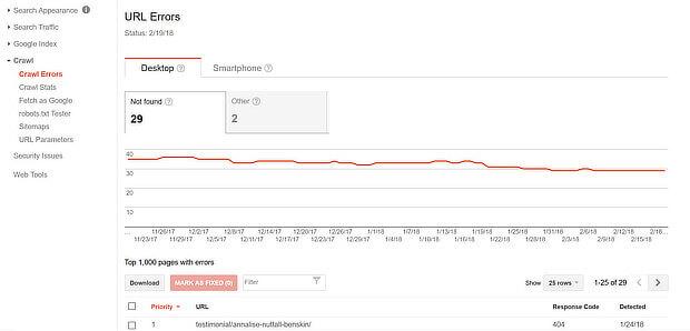 check site seo for crawl errors with search console