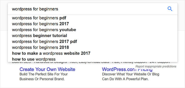 google autosuggest keyword research