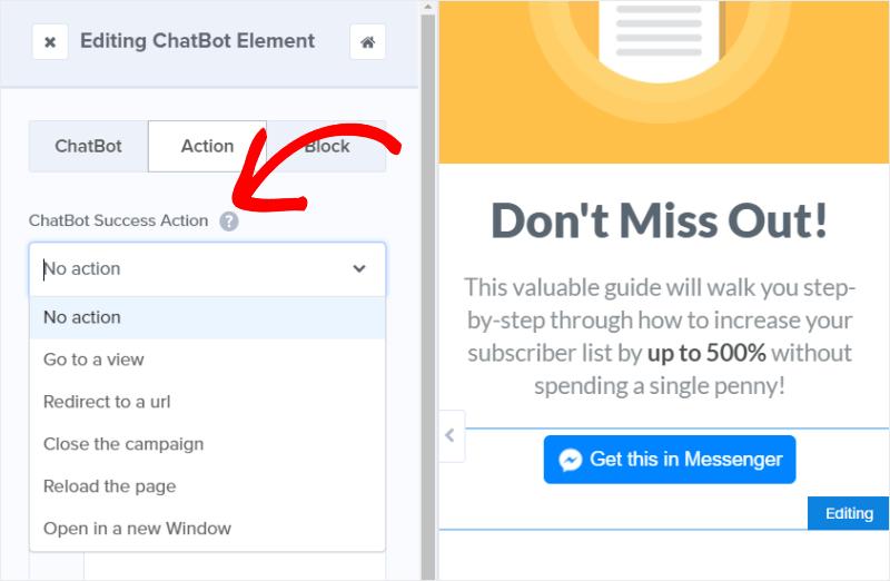 chatbot success actions
