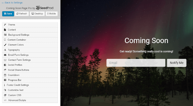 seedprod coming soon page builder