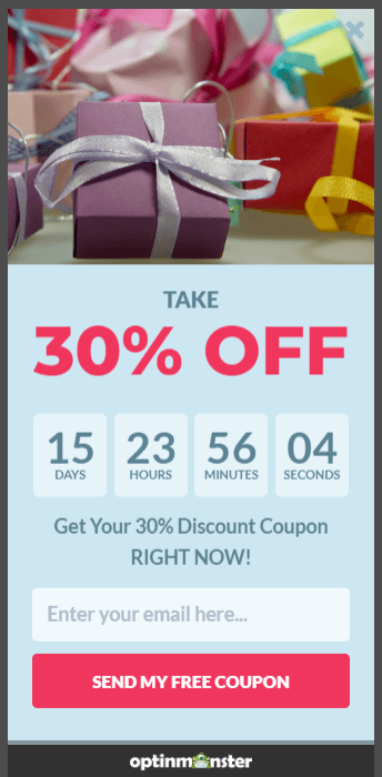 slide-in optin with countdown timer