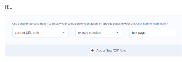 currently url path exactly matches display rule