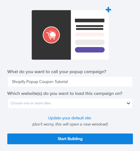 name your shopify popup coupon campaign