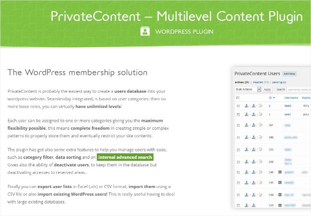 privatecontent wordpress membership plugin