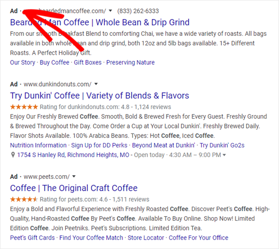 example of how search ads show up in results