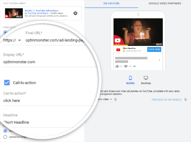 enter the settings you want for your bumper ad
