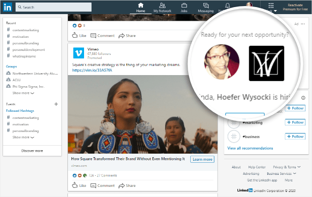 example of dynamic ads on linkedin