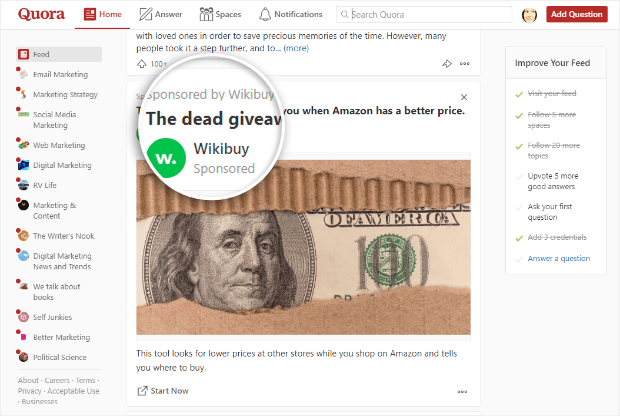 example of sponsored content on quora