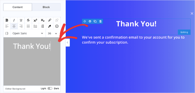 Change the text in the success view