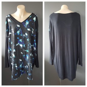WHISTLE Long Sleeve Blot Print Top Size 18