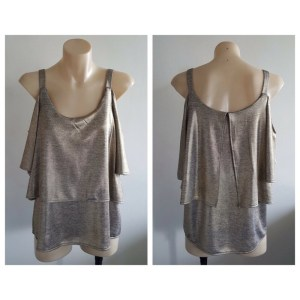 GRACE HILL Ladies Gold Shimmer Strap Sleeveless Top Size 8 BNWT