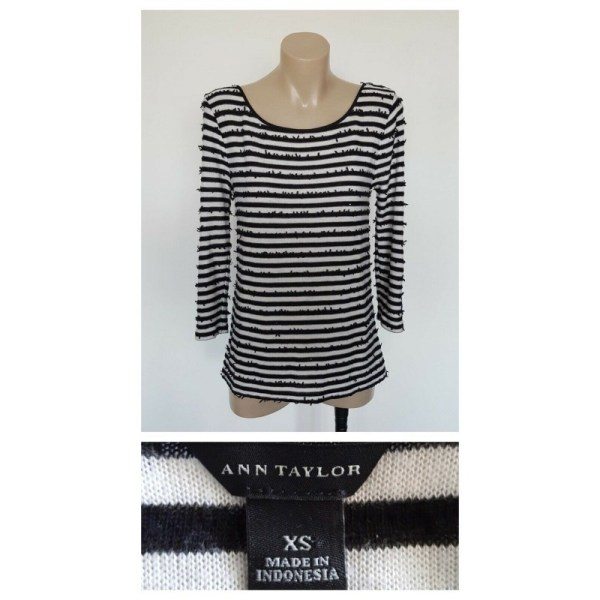 ANN TAYLOR Ladies Horizontal Sequin Detail Long Sleeve Top Size Extra Small XS