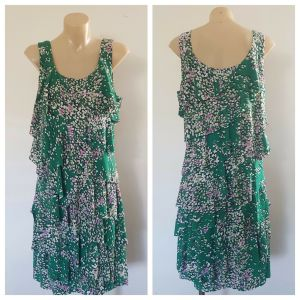 TEABERRY Womens Green All Over Print Ruffle Detail Sleeveless Dress Size 12