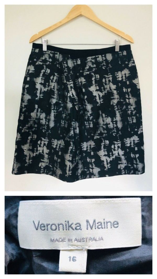 VERONIKA MAINE Womens Black With Silver Shimmer All Over Pattern Skirt Size 16