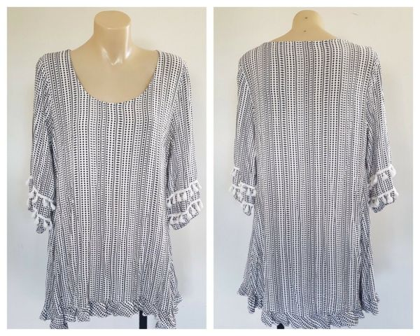 FLOWER Womens Black And White Patterned Ruffle Detail Long Sleeve Top Size 8