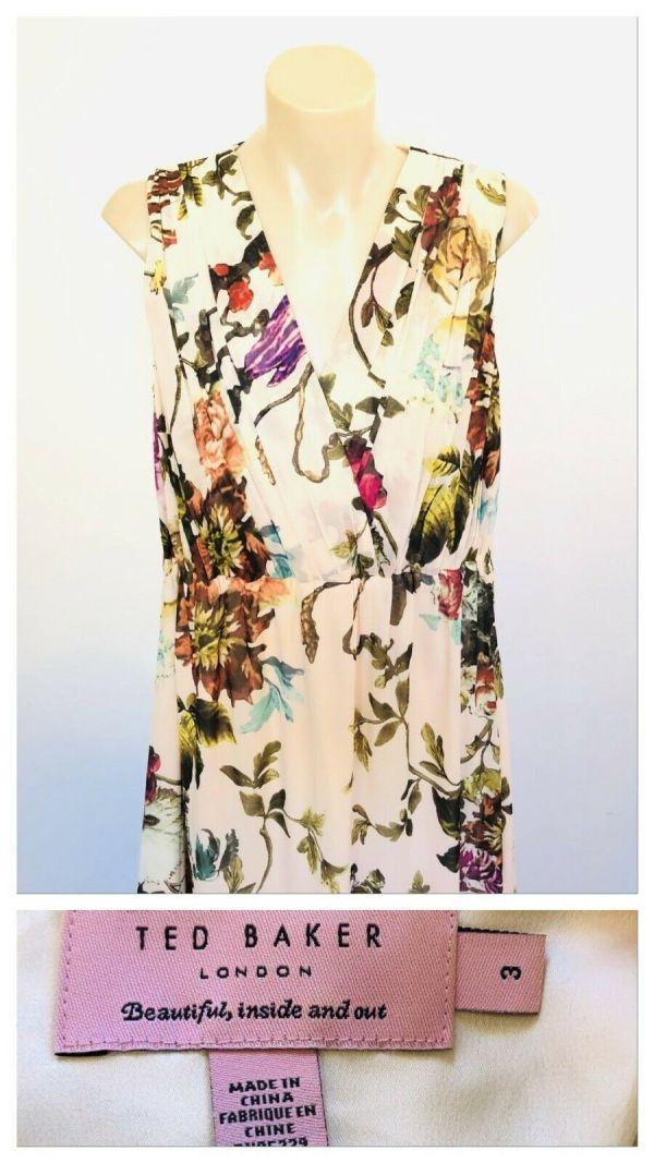 TED BAKER Women Floral Multicolour Sleeveless Dress Size 3 (AUS 10- 12)