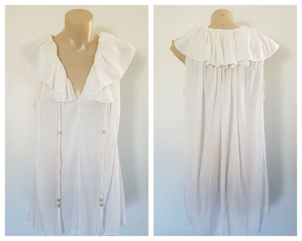 WITCHERY Women White Spring Summer Ruffle Detail Sleeveless Top Size 10