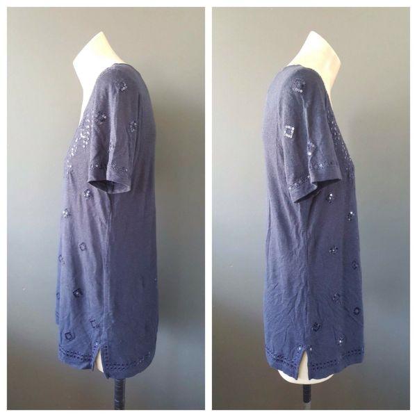 SPORTSCRAFT Womens Navy Blue Sequin Detail Short Sleeve Top Size Extra Small XS