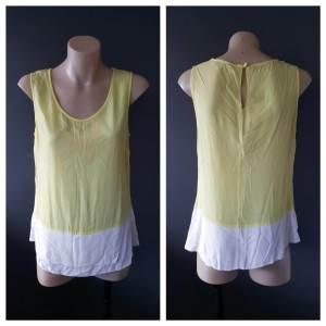 VERONIKA MAINE Fluro Yellow and White Tank Top Size 6