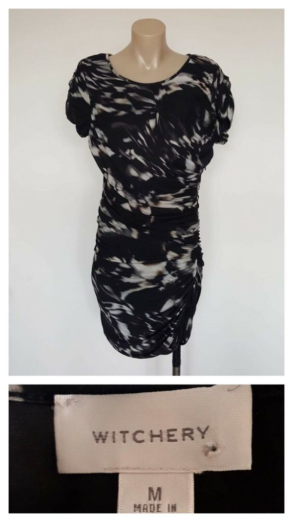 WITCHERY Ladies Blur Print Gathered Detail Short Sleeve Dress Size Medium M