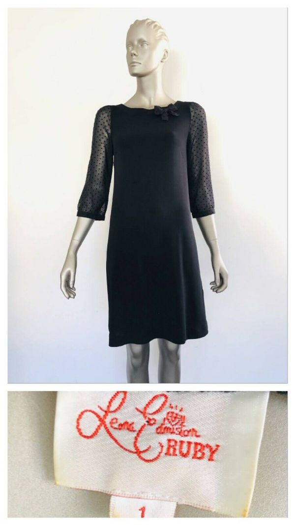 LEONA EDMISTON Black 3/4 Sheer Sleeve Dress Size 1 (10 AUS)