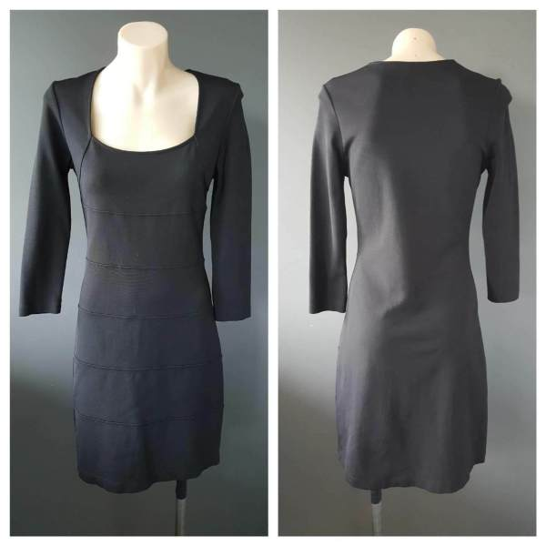VERONIKA MAINE Black Long Sleeve Fitted Dress Size 8