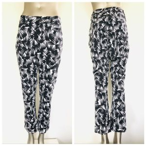 GORMAN Black Black & White All Over Print Pants Size 10