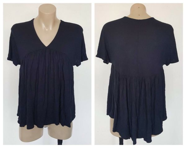 COUNTRY ROAD Ladies Navy Blue Gathered Detail Short Sleeve Top Size XXS