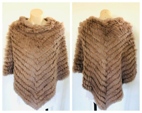 JAYLEY Poncho Jumper Sweater Brown Round Neck Size Small S