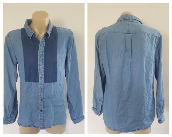 SEED Heritage Women Blue Colour Block Tencel Button Down Long Sleeve Top Size 8