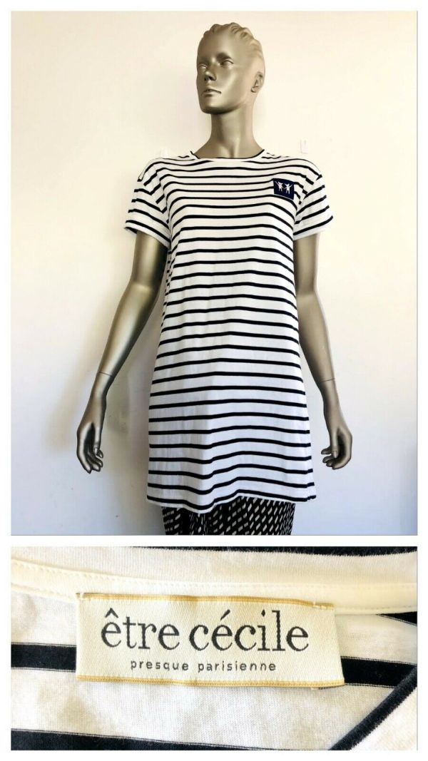 ETRE CECILE Womens Short Sleeve Striped Over Sized Shirt Dress Size Small S