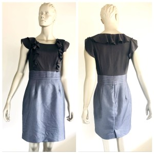 TOKITO CITY Black & Silver Metallic Dress With Ruffle Detail Size 10