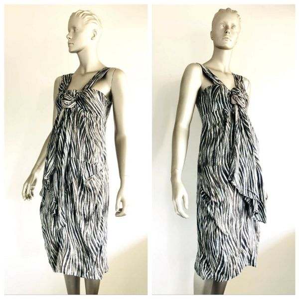 FREY Womens Silk All Over Patterned Sleeveless Dress Size 8