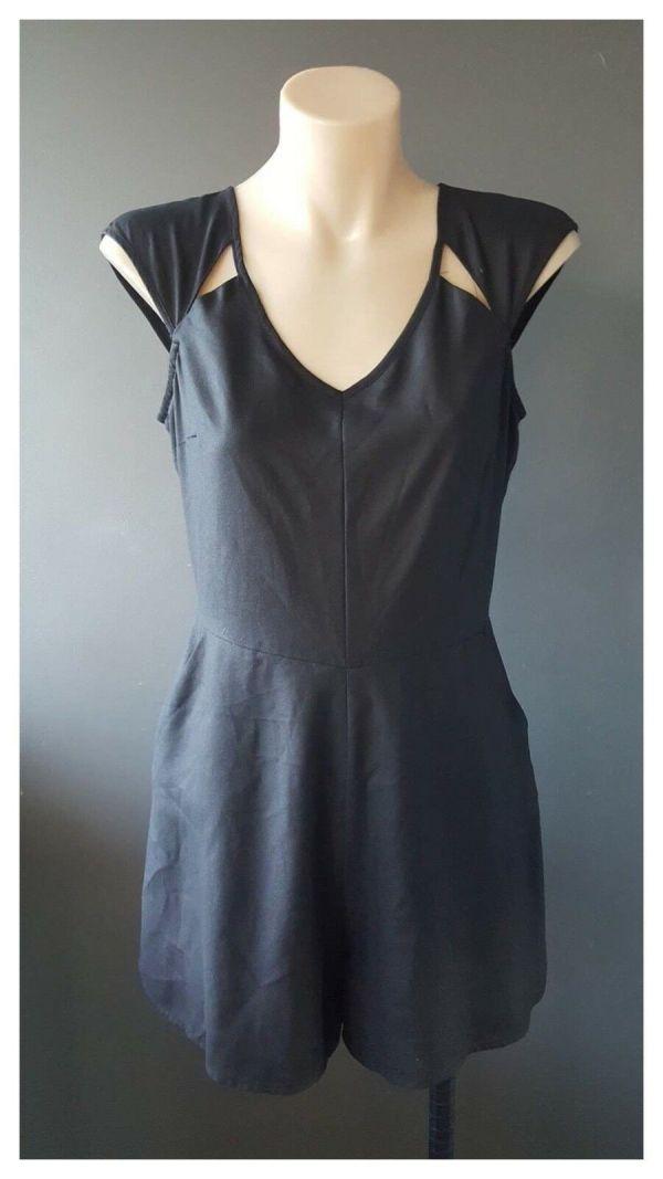 BETTINA LIANO Womens Black Semi Sheer Sleeveless Romper Playsuit Size 8