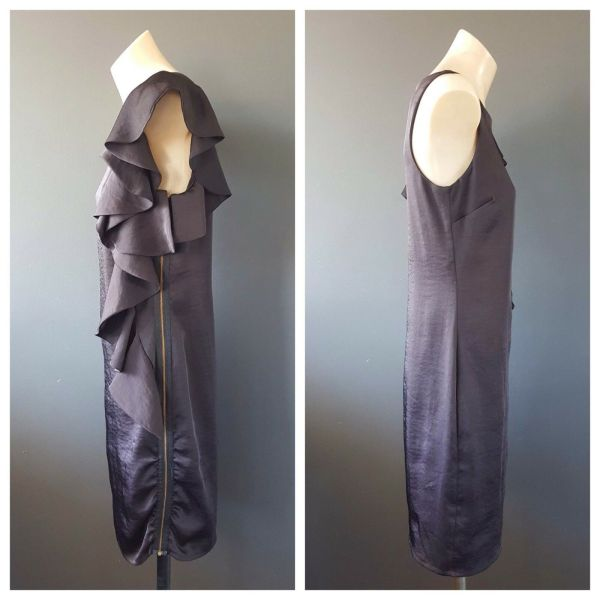 PORTMANS Ladies Black Sleeveless Ruffle Detail Party Cocktail Dress Size 6