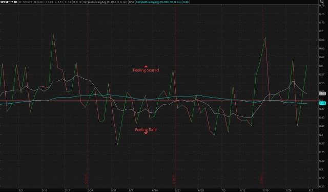 ThinkorSwim/S&P 500 Put/Call Ratio - as of 08/01/21