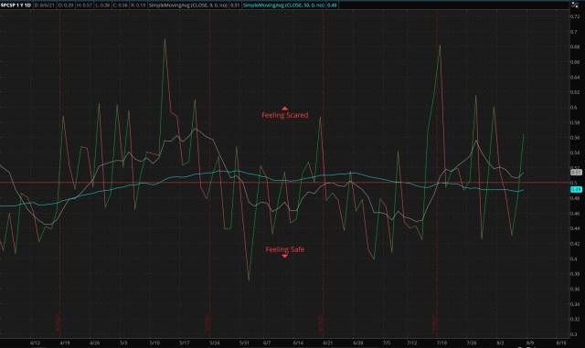 ThinkorSwim/S&P 500 Put/Call Ratio - as of 08/08/21