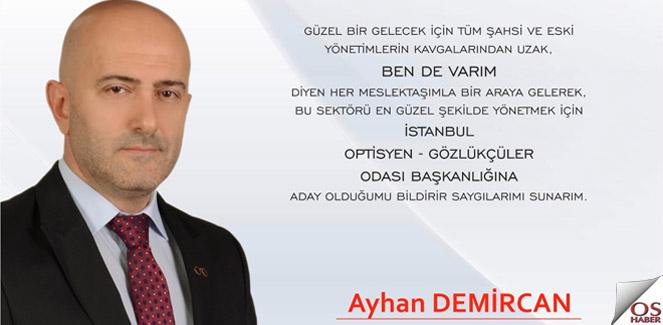 Ayhan Demircan İstanbul Odasına Adaylığını Açıkladı.