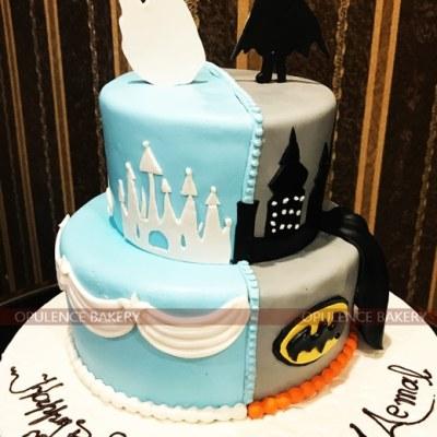 Batman and Elsa Cake in 2 Tiers