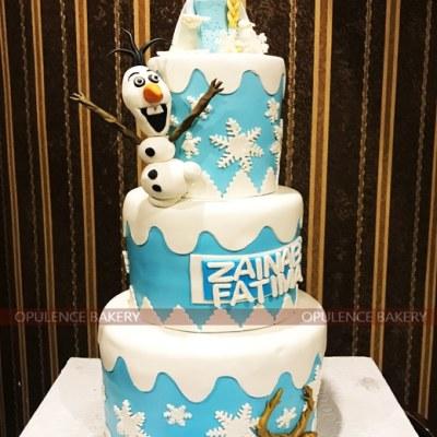Elsa Fondant Birthday Cake in Three Tiers
