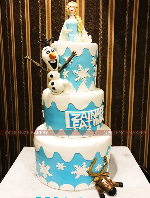 Elsa White Blue Colored Themed Cake