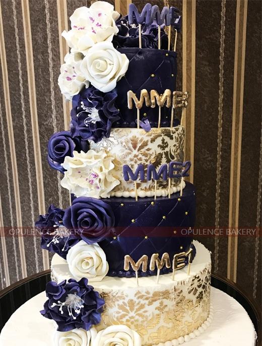 4 Tiers Wedding Custom Cake in Purple Color