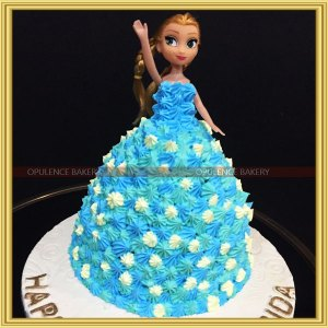 frozen themed doll cake