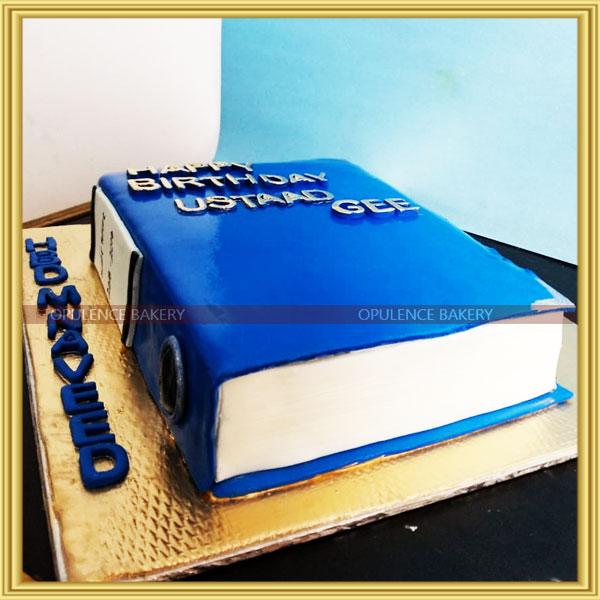 cake shaped like a book