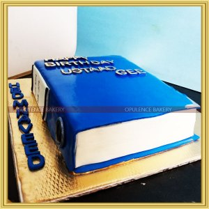 cake shaped like a book
